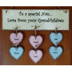 Personalised Wooden Sign : Personal Mum or Nan present with hearts. ( price for plaque only, hearts additional £2 each )