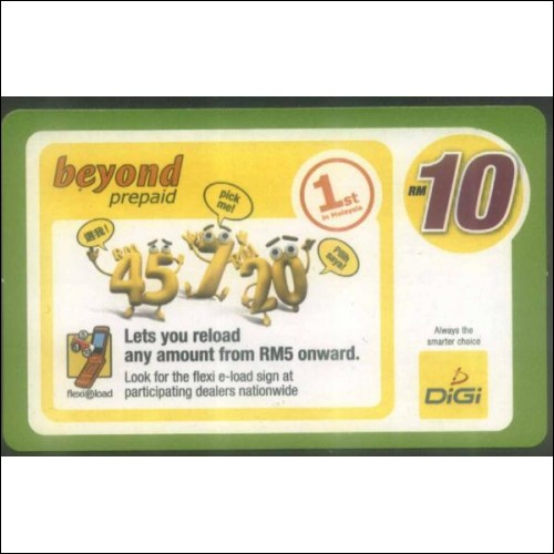 Used reload phone card from Malaysia. (Digi)
