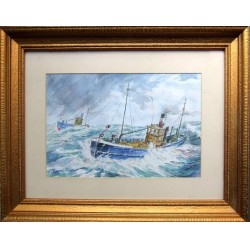 Old Watercolour Painting Trawlers , Sig/Titled