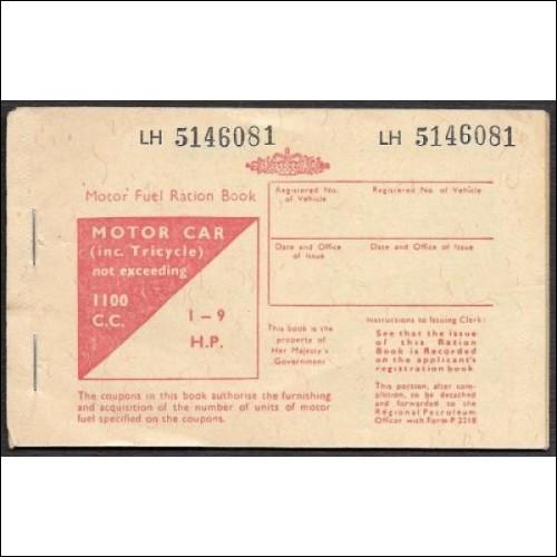 Vintage Motor car tricycle Fuel Ration Book LH 514