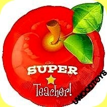 SUPER TEACHER APPLE BALLOON END OF TERM GIFT DELIVERED