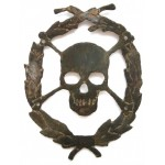 Original German WW2 Skull & Bones in Wreath for HAT or Helmet, 1941 - 1945