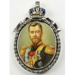 FABERGE - AMAZING gold Russian Miniature of Nicholas 2nd + Sapphire and Diamonds