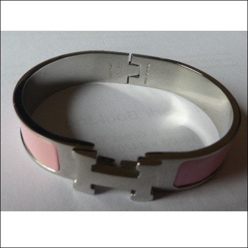 HERMES CLIC CLAC H BANGLE BRACELET. BABY PINK.  AUTHENTIC. HALLMARKED