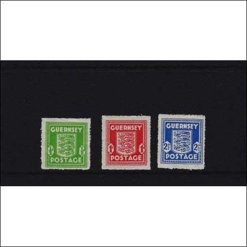 Guernsey 1941 German Occupation Stamps Set of 3, 1/2 d Green, 1 d Red, 2/1/2 d Blue