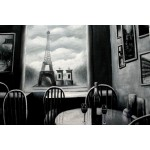 Eiffel in the window Black & White