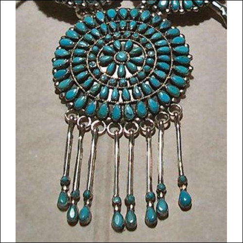 Native American Indian Turquoise & Silver Squash Blossom Necklace & Earrings
