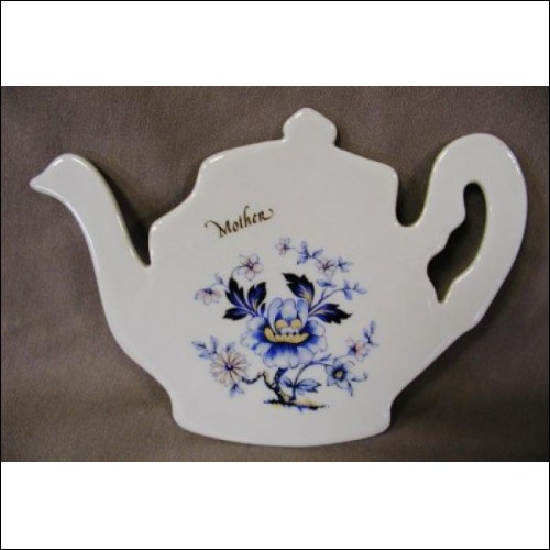 PORCELAIN TEAPOT TRIVIT CHINA ROSE ENGRAVED MOTHER SPOONREST NEW
