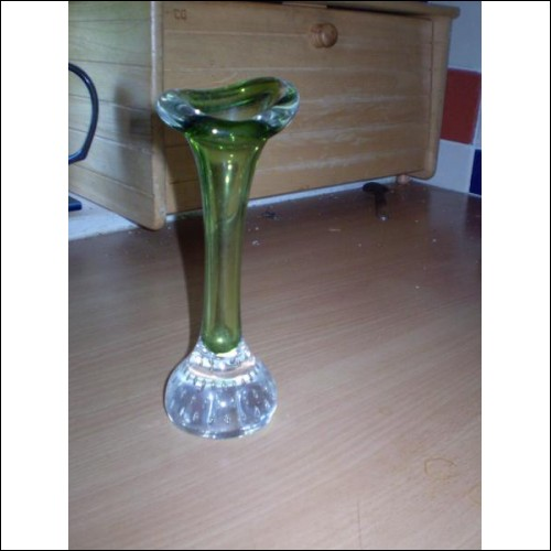 ASEDA GLASS JACK IN THE PULPIT VASE. GREEN