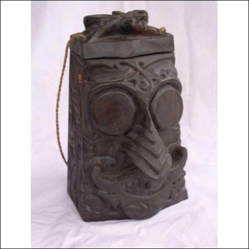 Vintage primitive borneo black wooden sculpture container/box