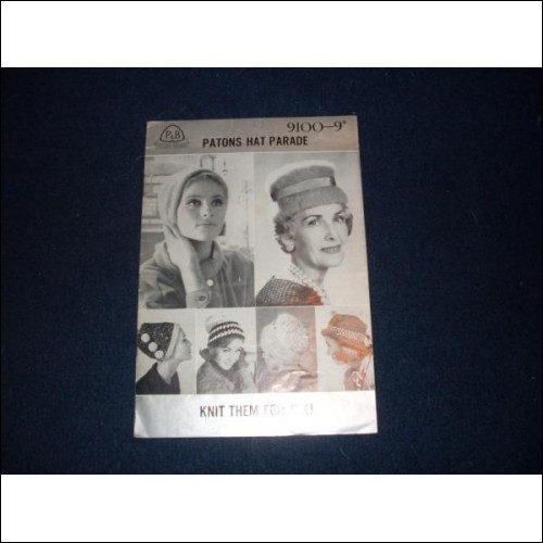 Patons Beehive Hat Parade (6 patterns) - No 9100 - 60s perhaps