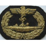 Original German WW2 U-Boat Badge metal thread, gold Embroidered    - #3172