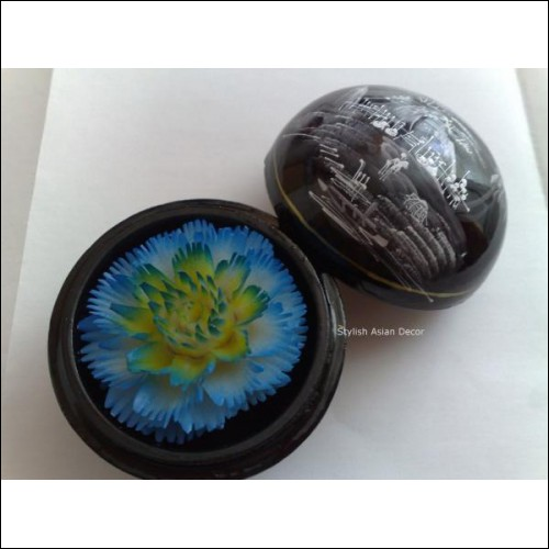 Hand-Carved Soap Flower in a Lacquered Mango Wood Sphere