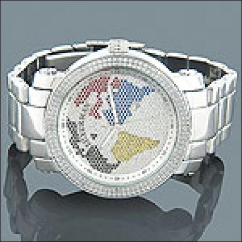 Luxurman World Map Mens Diamond Watch 0.12ct