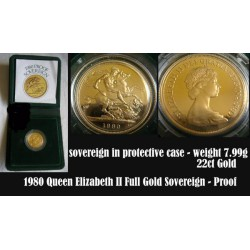 1980 Queen Elizabeth II PROOF Standard 22ct Full GOLD Sovereign Coin 7.99g