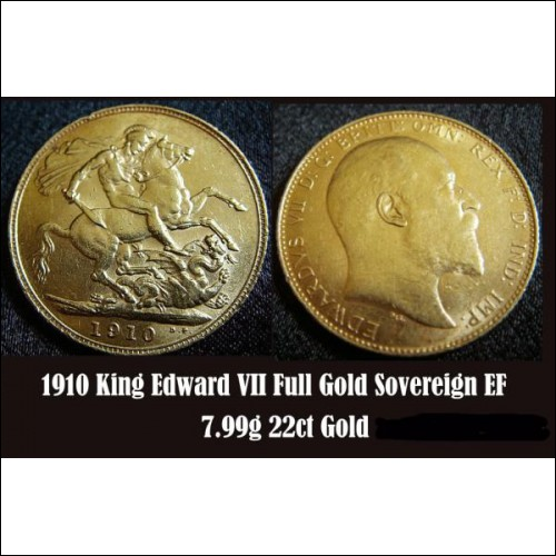 1910 King Edward VII 22ct Full GOLD Sovereign Coin 7.99g