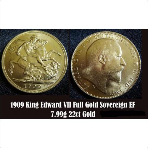 1909 King Edward VII 22ct Full GOLD Sovereign Coin 7.99g