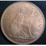 1965 Queen Elizabeth 2nd One Penny EF