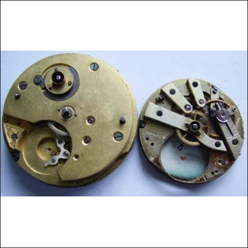 2 vintage pocket watch movements parts
