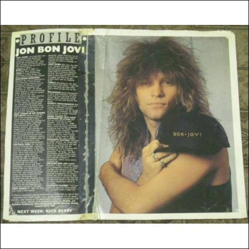 JON BON JOVI RARE 1986 POSTER ARTICLE ROCK GLAM METAL