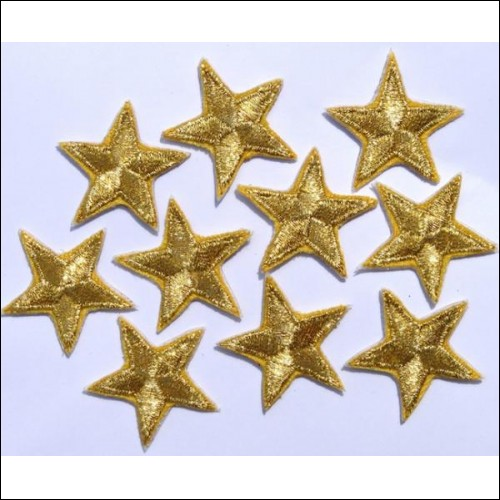 Gold star patches. Iron or sew on. Very attractive!