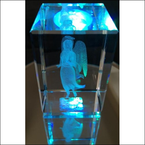 3-D Laser Crystal-Angel With Halo-Ornament-Collectible New In Original Box
